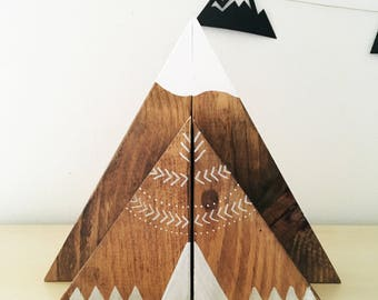 Stained Wood Mountain and Teepee Bookend set (large and small set), mountain bookends, teepee bookends, nursery bookends, kids bookends