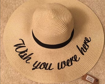Wish You Were Here Embroidered Floppy Sun Hat