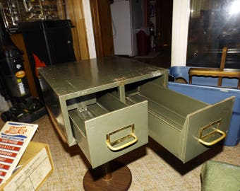Vintage, Steel Desktop Accessories, Army Green, File Drawer, Drawers, Metal Organizer, File Holder, Industrial Office, Rustic, Shabby Chic
