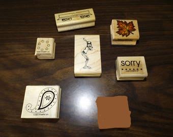 Rubber Stamps, Christmas Cards, Scrapbooking, Craft Stamp Set, Gift For Her, Word Stamps, Sorry Stamp, Baseball, Leaves, Mounted stamps