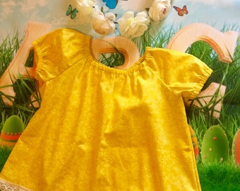 Size 1 dress toddler peasant style yellow cotton