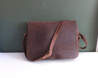 Hobo leather bag vintage 1980's Handmade Leather Messenger bag, shoulder bag, unisex bag