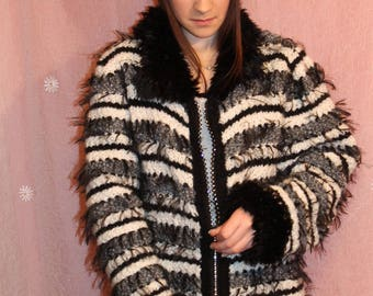 Knit Jacket, black and white stripes and fur, hand knitted
