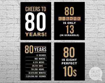 80th Birthday PRINTABLE Black and Gold Sign Pack - 80th Birthday DIGITAL Posters - Cheers to 80 Years Sign - 80th Birthday Decorations