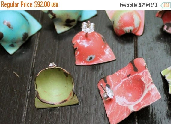 On Sale Handmade, Distressed Earrings - Punctuated in Green