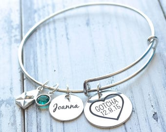 Gotcha Day Personalized Wire Adjustable Bangle Bracelet