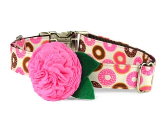 Donut Lover Bloom Dog Collar with Carnation Bloom