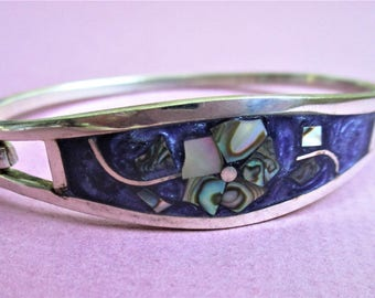 Taxco Purple Enamel Bangle Hinged Bracelet 925 Silver Bangle Abalone Inlay Mexican Silver Vintage Bangle Bracelet Cuff Bracelet Signed