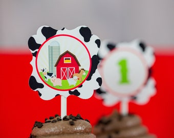 Farm Party Cupcake Topper - Printable Barnyard Party Cupcake Toppers - Farm Cupcake Toppers by Printable Studio