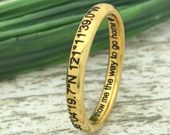 3mm Personalized Engrave Tungsten Wedding Ring, Yellow Gold Plated Wedding Ring, Comfort Fit, Coordinates Tungsten Ring,Skinny Ring