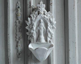 Antique French Holy water font, Lourdes souvenir 1900's white porcelain Mary our Lady Nordic Living religious benitier, genuine memorabilia,