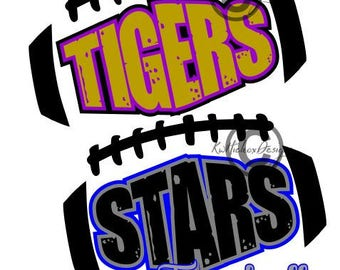 Tiger Football Svg, Distressed Football Svg, Dxf For Cameo