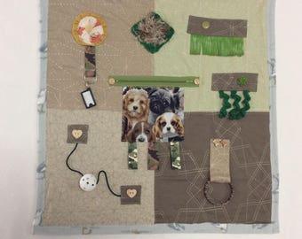 Dog Lover Tactile Fidget Quilt Sensory Lap Blanket for Alzheimers Dementia & Autism