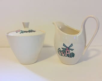 Marcrest RARE Wind Mill Vintage Creamer and Sugar Bowl with Lid