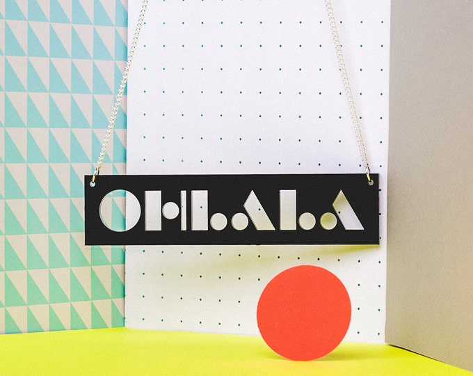 OHLALA typographic graphic large black acrylic statement necklace