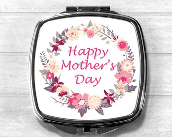 Mother's Day Compact Mirror, Cosmetic Mirror, Pocket Mirror, Mother Gift, Mother's Day, Mothering Sunday, Mother's Day Gift, Wedding Gift