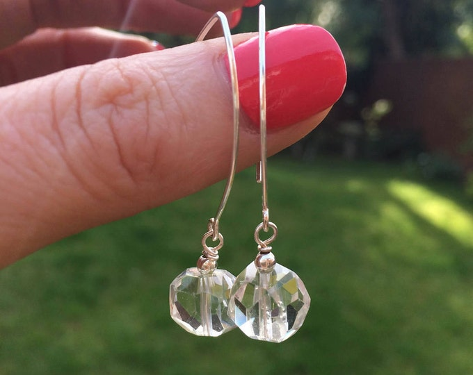 Clear Rock crystal Quartz earrings on long Sterling Silver hooks - April Birthstone jewellery gift
