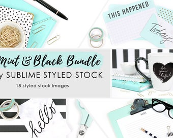 Styled stock photo bundle / 18 Styled Stock Images / Stock Photos / Instagram / Social Media Images / Branding / Blog Photo / Mint and Black