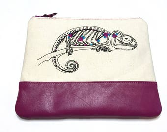 Handmade Bag, Wife Gift, Leather Clutch, Embroidered Bag, Boho Bag, Chameleon Clutch, Nature Lover Gift, Animal Clutch, Extravagant Gift