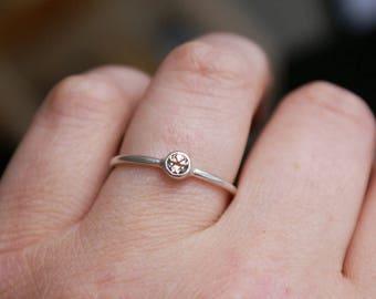 handmade: engagement ring 4 mm modish Topaz, 925 Silver matte