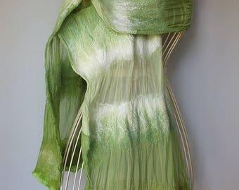 Nuno Felted Shawl, Nunofelt Silk Shawl, Nunofelted Silk Scarf, Green Silk Scarf