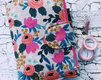 Rifle Paper Co Fabric Planner Cover with Zipper Pouch & Pockets A4 A5 A6
