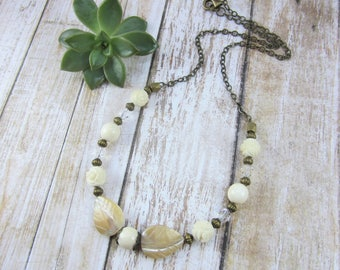 Ivory Necklace, Ivory Bead Necklace, Faux Ivory Jewelry, Beige Necklace, Ivory Statement Necklace, Mothers Day Gift