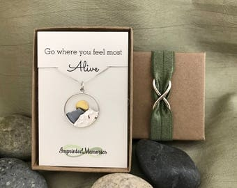 Mountain Sun Necklace Bronze Silver Sunset Mountain Jewelry - Nature Lover Traveler Gift Adventure Jewelry Go where you feel most Alive