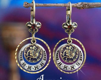 Aquarius Earrings, Zodiac Jewelry, Aquarius Jewelry, Zodiac Earrings, Astrology Jewelry, Birthday Gift, Zodiac Sign, Horoscope E1241-AQ