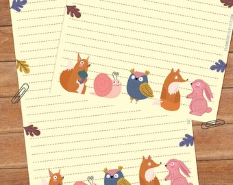Forest friends - DOWNLOAD file - Printable Writing paper - A5 size
