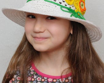 Floral Crochet summer hat Girls sun hat with flowers Girls summer hat wide brim hat Crochet girls hats girls Floppy beach hat Photo Prop