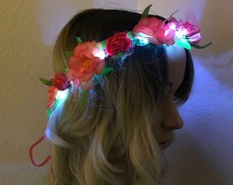 NEW- Improved design-Adjustable LED Flower Crown, festival, rave, headband, rose, daisy