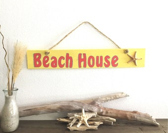 Wood Beach House Sign, Yellow Patio Sign, Garden Sign, Wood Coastal Sign, Beach Decor, Nautical Decor, Tropical Decor, Cottage Sign