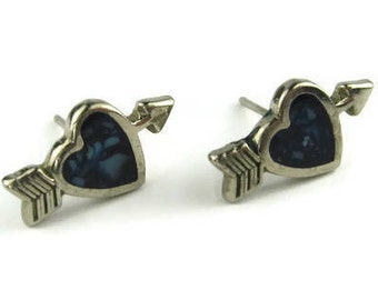 Vintage Tiny Hearts with Arrows Stud Earrings