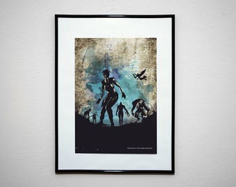 The Survivor of the Arklay Mountains - Video Game Grunge Wall Art Print Poster.