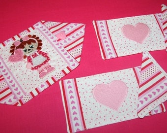 Doll Placemats, Napkins, Table Runner, Raggedy Ann & Hearts, Machine Embroidered