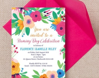 Personalised Floral Fiesta  Naming Ceremony Invitation Cards