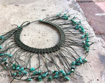 Green Amazonite stone necklace.