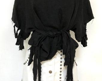 Handmade Avant Garde Black Linen Grunge Scoop Neck Batwing Shirt Size Medium
