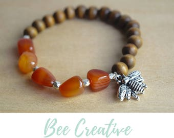 Grounding Jewelry / save the bees, sacral chakra, carnelian bracelet, bee silver bracelet, stone for creativity, grounding gemstone