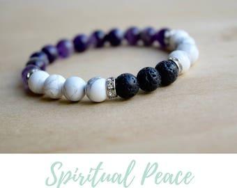 Amethyst Bracelet, White Howlite Bracelet / beaded jewelry ideas, oil diffuser bracelets, diffuser oil jewelry, virgo, crown chakra stones