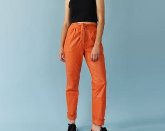 Orange Leather Pants, High Waist Pants, 80s Leather Pants, Tapered Leg Pants, Leather Trousers, Tie Waist Pants, Slim Fit Pants, Size Small