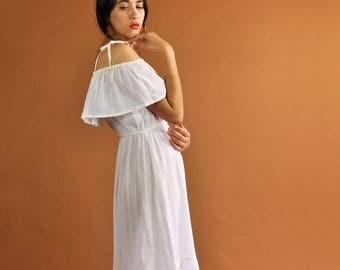 60s Prairie Dress, Vintage 1970s Dress, White Summer Dress, Romantic Dress, 60s Ruffle Dress, 60s Bohemian Dress, 60s Midi Dress