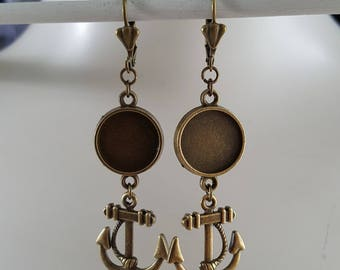 Ear jewellery, earrings, earring for 14 mm cabochons with anchor Pendant