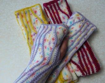 Knit fingerless gloves women Fingerless mittens Long arm warmers Colorful Boho gloves for her Gift ideas