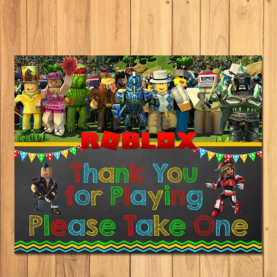 Roblox Favor Table Sign Chalkboard - Roblox Birthday Party Favor Sign - Roblox Party Printables - Roblox Party Favors - Roblox Video Game
