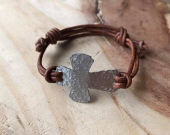 Adjustable Cross bracelet Sideways cross bracelet leather cord bracelet confirmation gift for boys rustic cross bracelet godfather gift