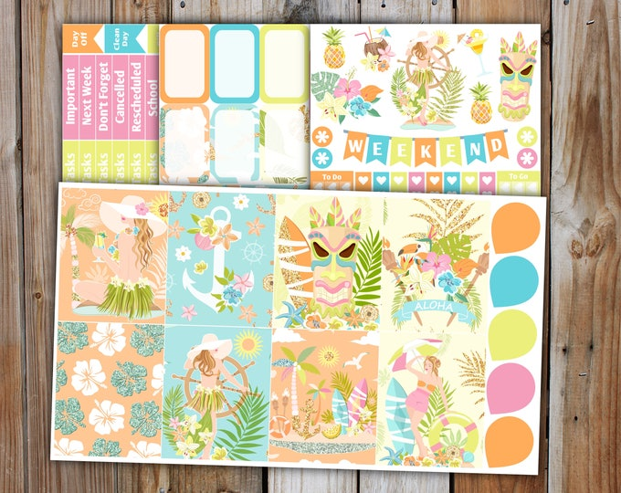 Aloha Planner Sticker MINI Kit | Summer Planner Stickers Kit for use with ERIN CONDREN Life Planner