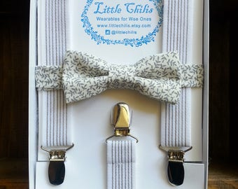 Baby Boy Suspenders and Bow Tie - White Stripes & Flowers