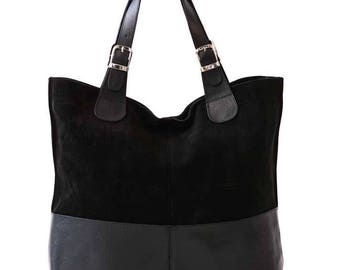 Women Shoulder Bag, Suede Leather Bag, Suede Leather, Black Suede Leather, Suede Leather Bags, Black Suede Bag, Genuine Shoulder Bag